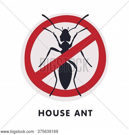 House Ant Insect Prohibition Sign, Pest Control And Extermination Service Vector Illustration On Whi