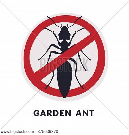 Garden Ant Harmful Insect Prohibition Sign, Pest Control And Extermination Service Vector Illustrati