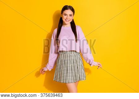 Portrait Of Her She Nice-looking Attractive Lovely Pretty Charming Cute Cheerful Cheery Girl Posing
