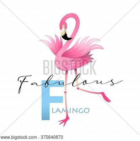 F Is For Fabulous Flamingo. Fun Colorful English Abc For Children. Vocabulary And Letters Alphabet S