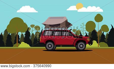 Vector Illustration Of Flat Design Red Off Road Vehicle Car Camping With Roof Top Tent With Nature S