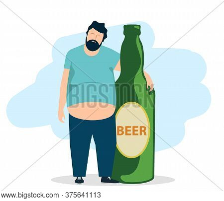 The Concept Of Drunkenness. Drunk Fat Man Hugs A Bottle Of Beer. Unhealthy Lifestyle. Vector Illustr