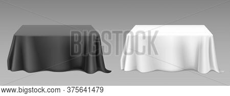 White Black Tablecloth On Square Tables. Vector Realistic Mockup Of Empty Dining Desk With Blank Lin