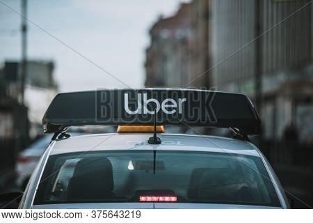 Russia, Saint Petersburg, June 26, 2020: Russia, Saint Petersburg, June 26, 2020: Uber Taxi Roof In