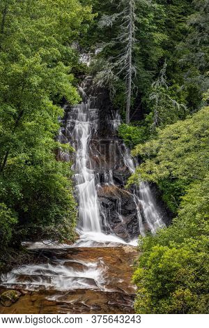 Batson Creek Falls, A Waterfall Near Brevard, North Carilina, Cascades Down To Its Confluence With C