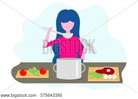 Woman Cooking In The Kitchen. Vector Illustration In Flat Design Concept Of Cooking Courses, Restaur