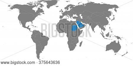 Sudan, Saudi Arabia Countries Isolated On World Map. Gray Background. Business Concepts, Travel And