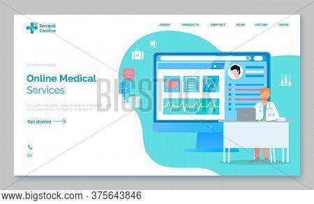 Landing Page Of Medical Website, Online Medical Services, Online Help, Medical Consultation, Support