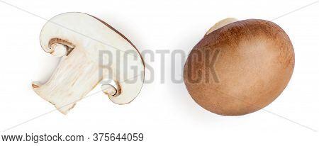 Fresh Champignon Mushrooms Isolated On White Background. Top View. Champignon Macro Object