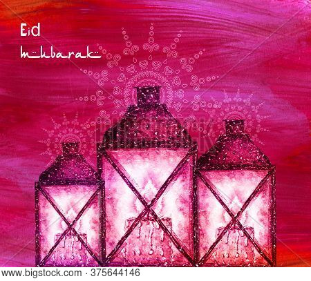 Eid Al Adha Eid Mubarak Holiday Red Background