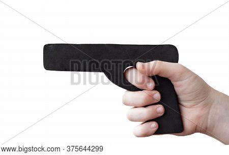 Hand Holding A Black Dummy Pistol For Self Defense Training