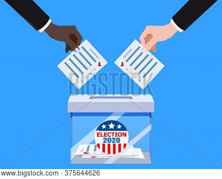 The Us Presidential Election 2020. Hands Putting Voting Blancs Papers In Vote Box Transparent, Ballo