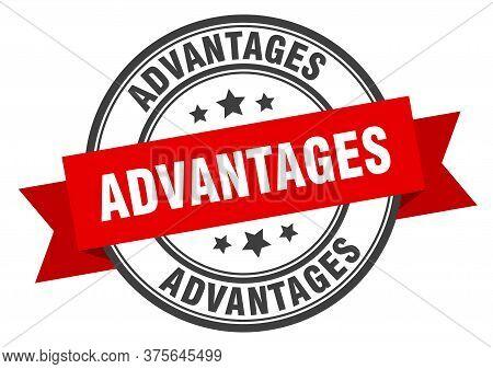 Advantages Label. Advantagesround Band Sign. Advantages Stamp