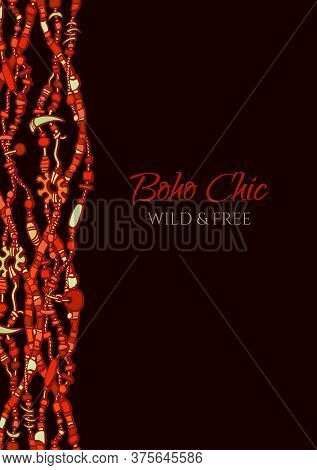 Cover Design In Boho Style. Vertical Border Made From Beads In Traditional Red And Black Colors. Vec