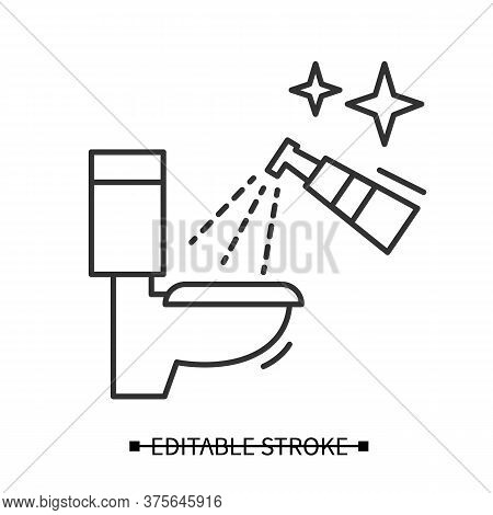 Toilet Disinfection Icon. Restroom Antibacterial Spray Cleaning Linear Pictogram. Hygiene And Covid
