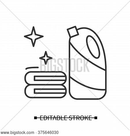 Bleach Icon. Household Chemical Bottle With Laundry Pile Line Pictogram. Clothes Washing, Disinfecti