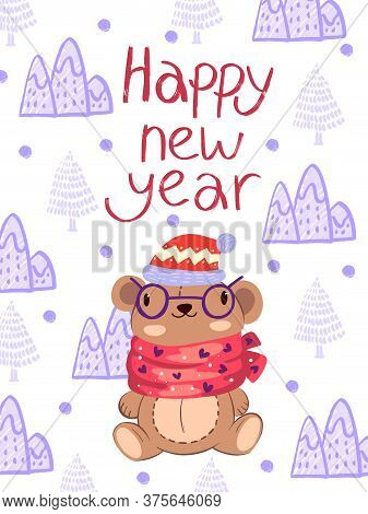 Nappy New 2021 Year Vector Background With Cute Teddy Bear In Glasses, Scarf And Hat. Merry Christma
