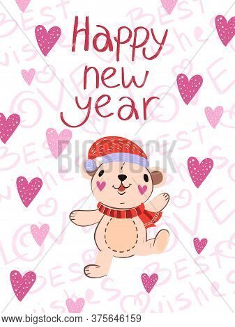 Happy New Year Vector Winter Postcard In Scandinavian Style. Cute Poster With Funny Dancing Bear In