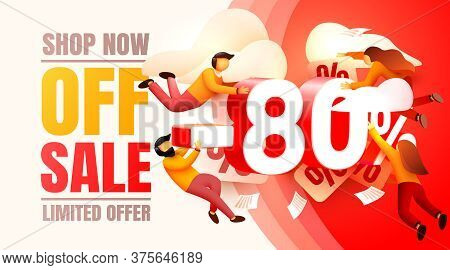 Shop Now Off Sale, 80 Interest Discount, Limited Offer. Vector