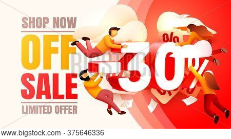 Shop Now Off Sale, 30 Interest Discount, Limited Offer. Vector
