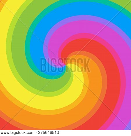 Rainbow Swirl Background. Colorful Bright Rays Of Twisted Spiral. Vector Illustration
