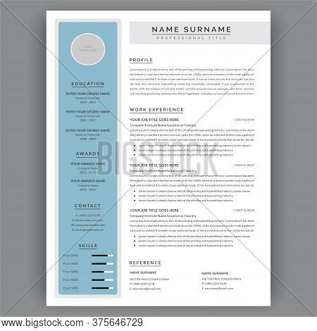 Resume Template. Creative Cv / Resume Minimal Layout In Blue Color. Minimalist Infographic Work Expe