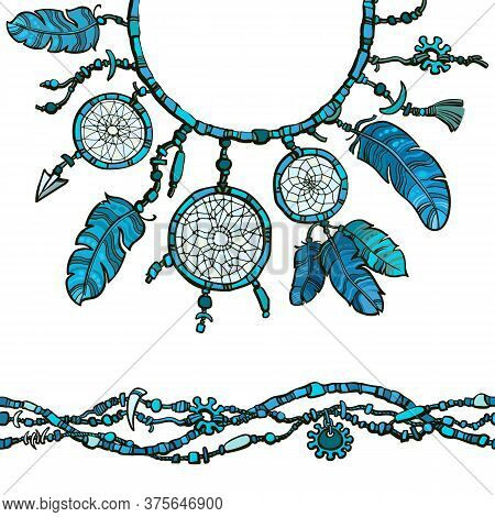 Dream Catcher And Seamless Border Made From Beads. Boho Style Decoration. Vector Illustration.