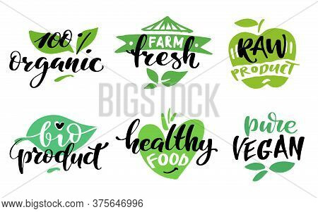 Healthy Food Label Set. Product Labels Or Stickers. 100 Percent Organic, Farm Fresh, Raw Product, Bi