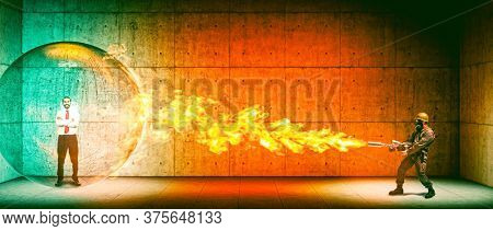 happy businessman man in a protective sphere hit by the flames of a flamethrower. Protection and safety concept.
