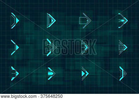 Set Of Futuristic Hud Blue Arrows. Cyberpunk Arrows Design For Flyer, Banner, Cover, Card, Web And F