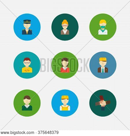 Occupation Icons Set. Teamwork And Occupation Icons With Computer Programmer, Nurse And Teacher. Set