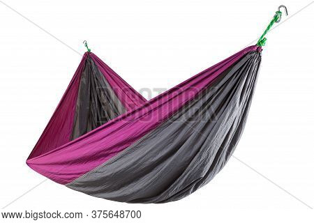 Silk Hammock, Gray With Lilac, Stretched On The Ropes, Durable And Compact Hammock, On A White Backg
