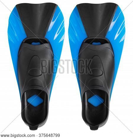 A Pair Of Blue Short Flippers For Swimming In The Sea Or In The Pool, For Fitness Training, On A Whi