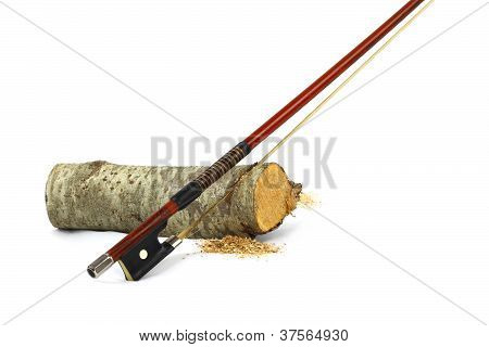 Violin Bow Sawing A Small Piece Of Wood