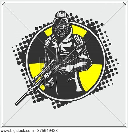 Soldier With Rifle, Gas Mask And Armour. Shooter Emblem. Print Design For T-shirt.