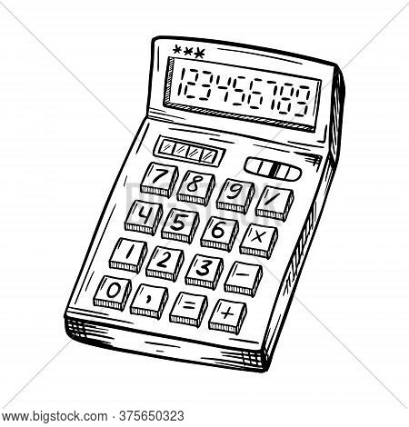 A Sketch Of The Calculator. An Accounting Or School Accounting Tool. A Simple Hand-drawn Drawing, Is
