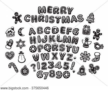 Black And White Gingerbread Alphabet, Letters, Numbers And Traditional Holiday Cookies