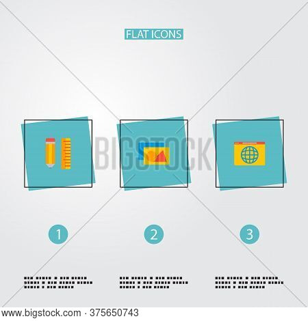 Set Of Development Icons Flat Style Symbols With Design Tool, Raster Art, Web Browser And Other Icon