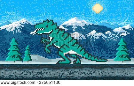 Fire Dinosaur And Mountain Landscape. Game Concept. Pixel Art 8 Bit Objects. Retro Digital Game Asse