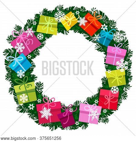 Christmas Wreath With Bright Multicolored Gift Boxes, Snowflakes Round Frame From Colorful Presents