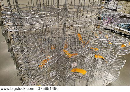 Moscow, Russia - August 17, 2019: Chrome Mesh Baskets In A Building Materials Hypermarket