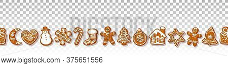 Christmas Gingerbread Cookies Seamless Border On Transparante Background Traditional Homemade Sugar
