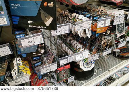 Moscow, Russia - August 17, 2019: Various Construction Tools On The Stand In A Building Materials Hy