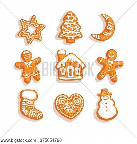 Set Of Christmas And New Year Gingerbread Cookies. Traditional Homemade Sugar Coated Cookies
