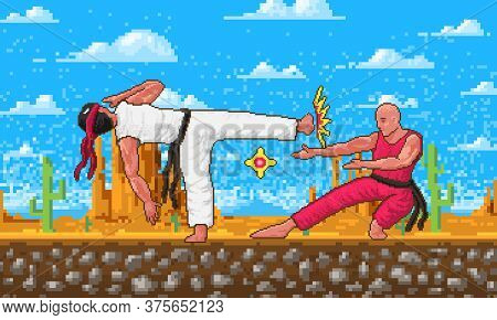 Japanese Karate. Pixel Art 8 Bit Characters Objects. Fight Or Battle In The Game Concept. Desert Lan