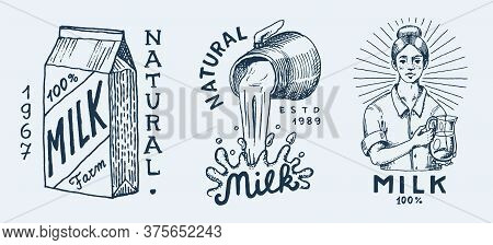 Milk Set. Cow And Woman Farmer, Milkmaid And Jug, Blot And Bottles, Packaging And Meadow, Man Holds