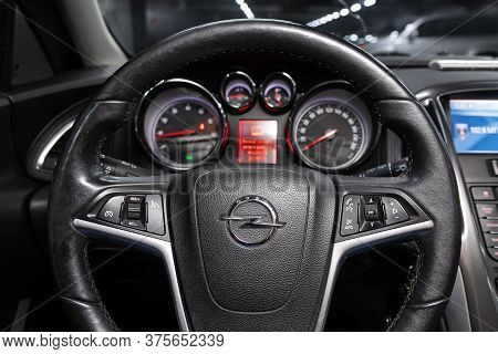 Novosibirsk/ Russia - June 30 2020: Opel Astra,  Dashboard, Player, Steering Wheel With Logo And But