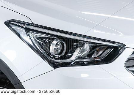 Novosibirsk/ Russia - June 03 2020: Hyundai Santa Fe, White Car Headlights. Exterior Detail. Close U