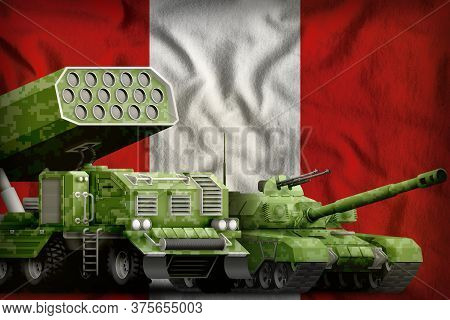 Tank And Rocket Artillery With Summer Pixel Camouflage On The Peru Flag Background. Peru Heavy Milit