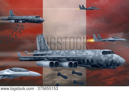 Peru Bomb Air Strike Concept. Modern Peru War Airplanes Bombing On Flag Background. 3d Illustration